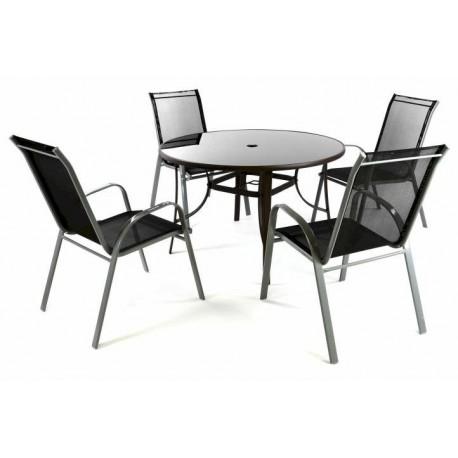 Zestaw ogrodowy, 4 krzesła + stół ze szklanym blatem